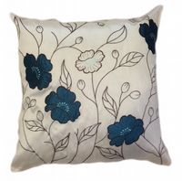 LARGE FLORAL DESIGNER FAUX SILK STYLISH FILLED CUSHION  BLUE & CREAM COLOUR